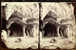 View from the left of the façade of Buddhist vihara, Cave VII, Ajanta